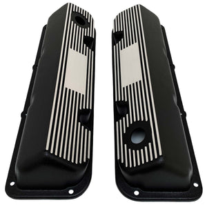 ansen custom valve covers, ford, 351 cleveland, laser engraved, black powder coat, top view