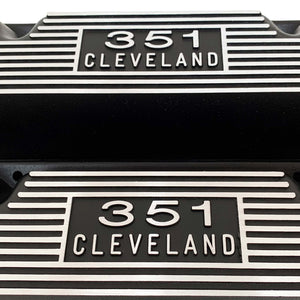 ansen usa, ford 351 cleveland valve covers, die-cast logo, black, name plate view