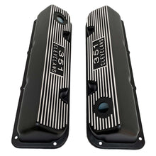 Load image into Gallery viewer, ansen usa, ford 351 cleveland valve covers, die-cast logo, black, top view