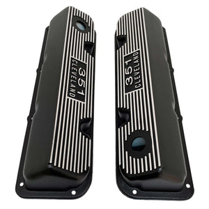 ansen usa, ford 351 cleveland valve covers, die-cast logo, black, top view