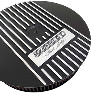 ansen custom engraving, ford carroll shelby signature air cleaner kit, 13 inch round, black, close up view