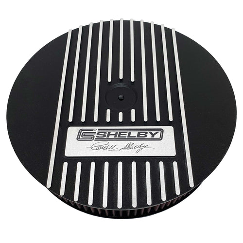 ansen custom engraving, ford carroll shelby signature air cleaner kit, 13 inch round, black, front view
