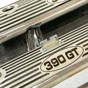 ford fe 390 gt valve covers, tall, finned, polished, ansen usa, angled view