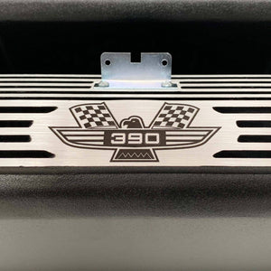 ansen valve covers, ford, fe 390, american eagle, laser engraved, black powder coat, close up view