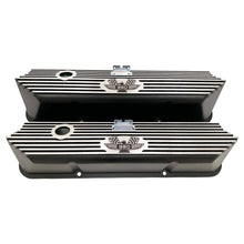Load image into Gallery viewer, ford fe 390 american eagle valve covers, tall, finned, black, ansen usa, front view