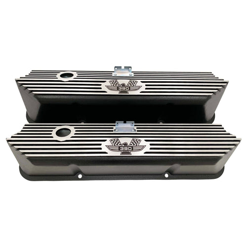 ansen valve covers, ford, fe 390, american eagle, laser engraved, black powder coat, front view