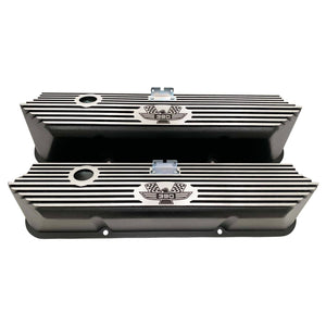 ford fe 390 american eagle valve covers, tall, finned, black, ansen usa, front view