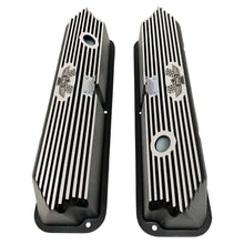 Load image into Gallery viewer, ford fe 390 american eagle valve covers, tall, finned, black, ansen usa, top view