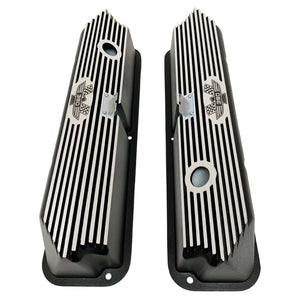 ford fe 390 american eagle valve covers, tall, finned, black, ansen usa, top view