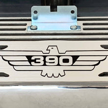 Load image into Gallery viewer, ford fe 390 american eagle outline valve covers, tall, finned, polished, ansen usa, close up view