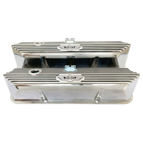 ford fe 390 american eagle outline valve covers, tall, finned, polished, ansen usa, front view