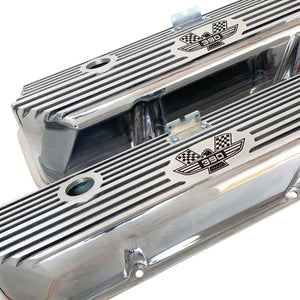 ford fe 390 american eagle valve covers, tall, finned, polished, ansen usa, angled view