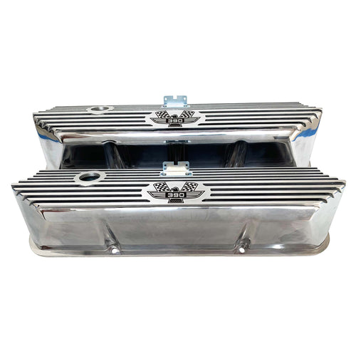 ansen valve covers, ford, fe 390, american eagle, polished, front view
