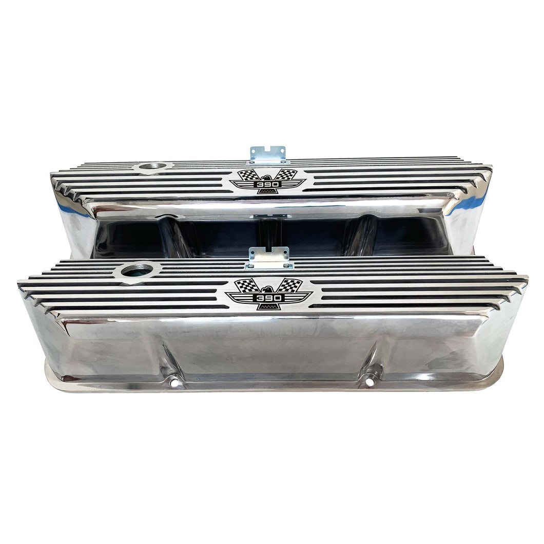 ford fe 390 american eagle valve covers, tall, finned, polished, ansen usa, front view