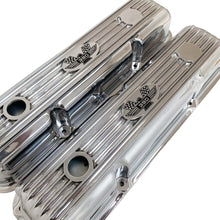 Load image into Gallery viewer, ansen custom engraving, ford fe 390 valve covers american eagle polished, angled view