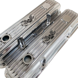 ansen custom engraving, ford fe 390 valve covers american eagle polished, angled view