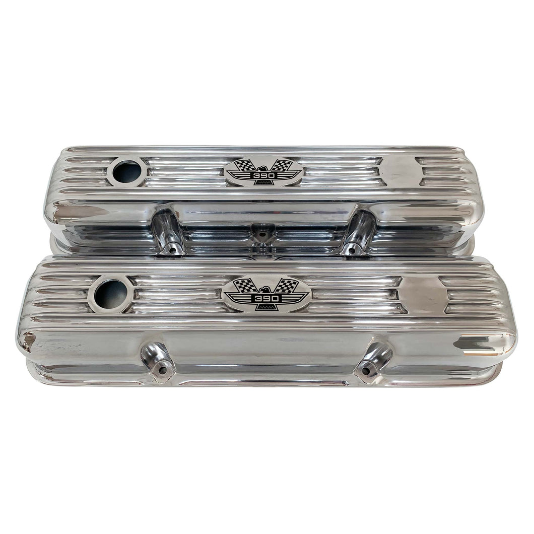 ansen custom engraving, ford fe 390 valve covers american eagle polished, front view