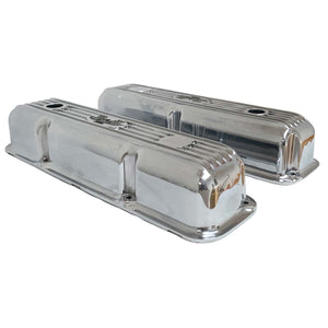 ansen custom engraving, ford fe 390 valve covers american eagle polished, side profile view