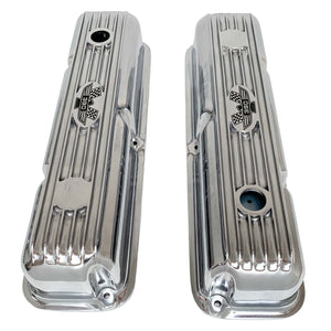 ansen custom engraving, ford fe 390 valve covers american eagle polished, top view