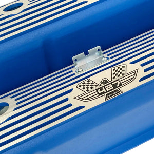 ansen valve covers, ford, fe 427, tall, american eagle, laser engraved, blue powder coat, angled view