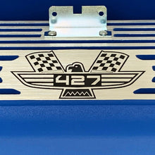 Load image into Gallery viewer, ansen valve covers, ford, fe 427, tall, american eagle, laser engraved, blue powder coat, close up view