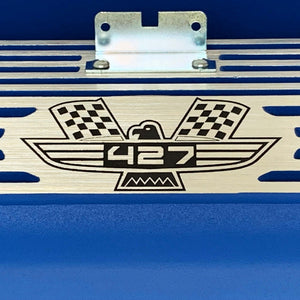 ansen valve covers, ford, fe 427, tall, american eagle, laser engraved, blue powder coat, close up view