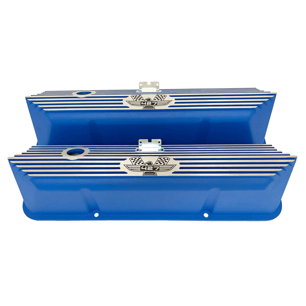 ansen valve covers, ford, fe 427, tall, american eagle, laser engraved, blue powder coat, front view