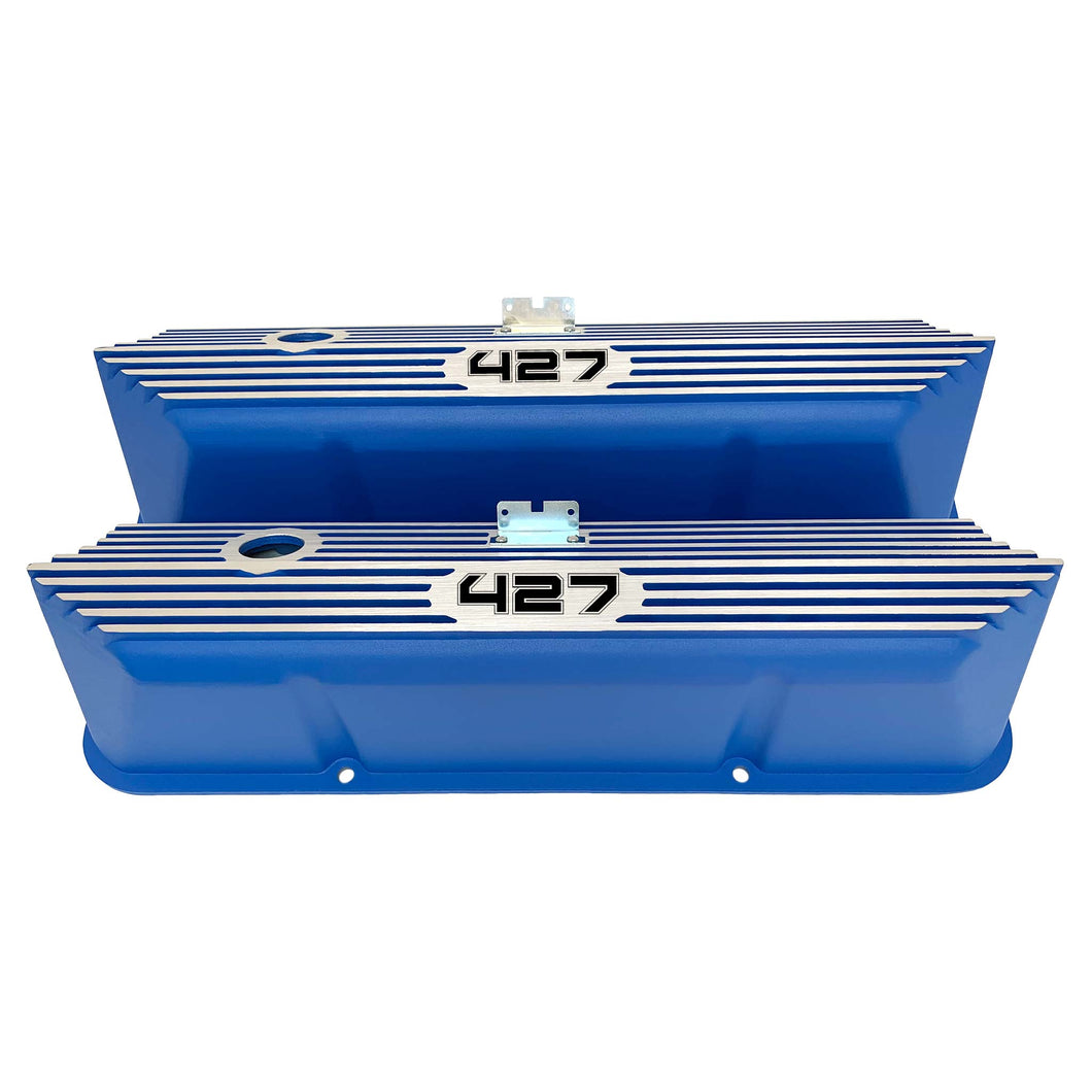 ansen custom engraving, ford fe 427 valve covers, tall, finned, blue, front view