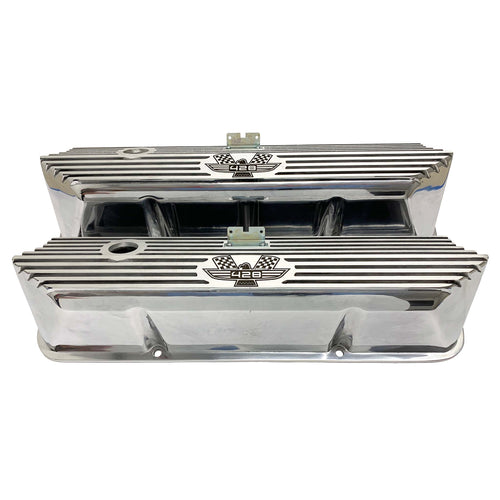 ansen valve covers, ford, fe 428, american eagle, laser engraved, polished, front view