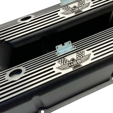 Load image into Gallery viewer, ansen valve covers, ford, fe 428, american eagle, laser engraved, black powder coat, angled view