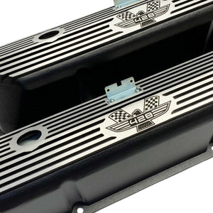 ansen valve covers, ford, fe 428, american eagle, laser engraved, black powder coat, angled view