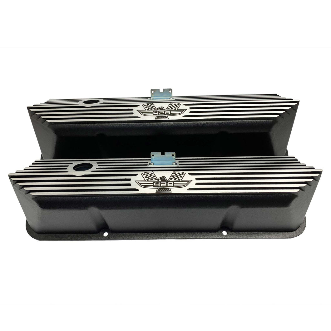 ansen valve covers, ford, fe 428, american eagle, laser engraved, black powder coat, front view