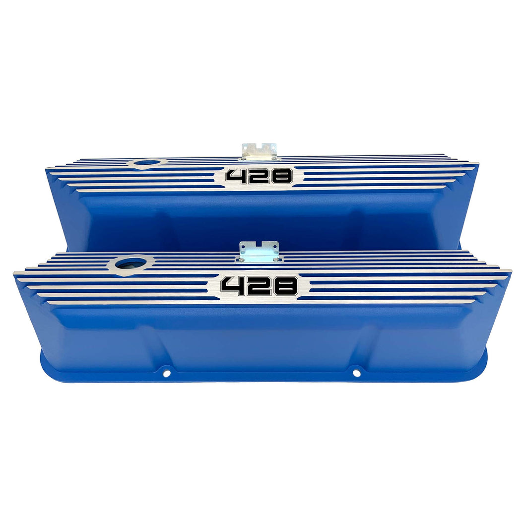 ansen custom engraving, ford fe 428 valve covers, tall, finned, blue, front view