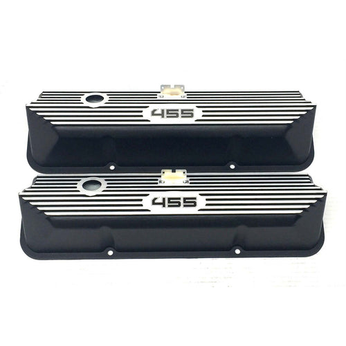 ansen valve covers, ford, fe 455, tall, laser engraved, black powder coat, front view