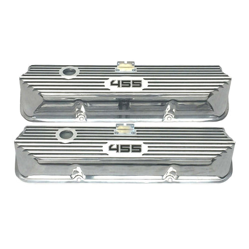 ansen valve covers, ford, fe 455, tall, laser engraved, polished, front view