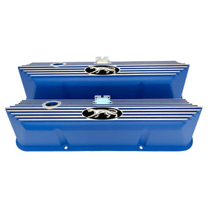 ansen valve covers, ford fe, cougar logo, laser engraved, blue powder coat, front view