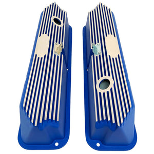 ansen custom valve covers, ford, fe, laser engraved, blue powder coat, top view