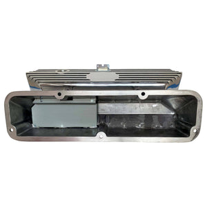 ford fe 390 american eagle outline valve covers, tall, finned, polished, ansen usa, underside view