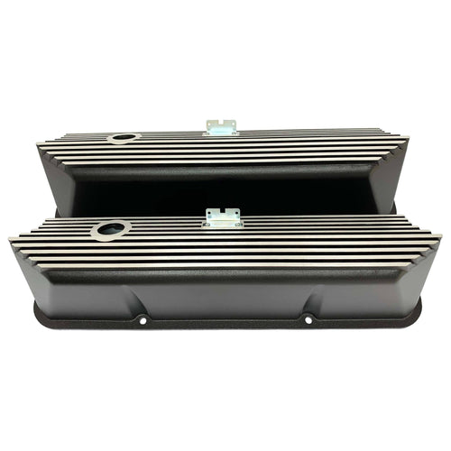 ansen valve covers, ford fe, tall, all fins, black powder coat, front view