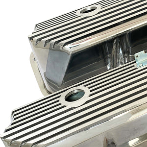 ansen valve covers, ford, fe, tall, all fins, polished, close up view