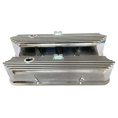ansen valve covers, ford, fe, tall, all fins, polished, front view