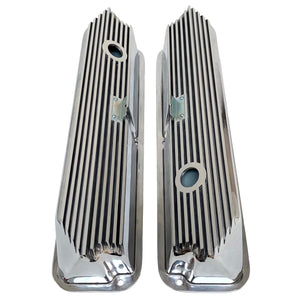ansen valve covers, ford, fe, tall, all fins, polished, top view
