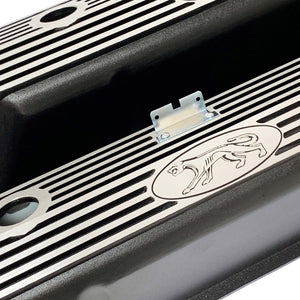 ansen valve covers, ford fe, cougar logo, laser engraved, black powder coat, angled view