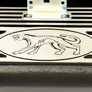 ansen valve covers, ford fe, cougar logo, laser engraved, black powder coat, close up view