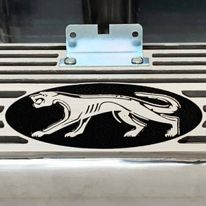 ansen valve covers, ford fe, cougar logo, laser engraved, polished, close up view