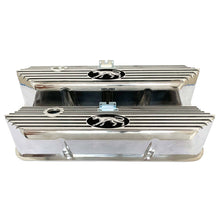 Load image into Gallery viewer, ansen valve covers, ford fe, cougar logo, laser engraved, polished, front view