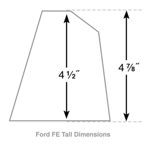 ford fe 390 american eagle outline valve covers, tall, finned, polished, ansen usa, dimensions diagram