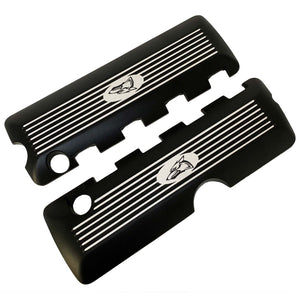 ansen custom coil covers, 2011-17, ford mustang, coyote logo, black powder coat, front view