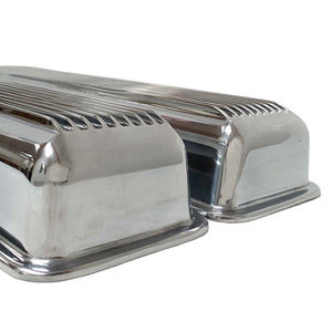 ansen small block chevy corvette all fins valve covers, polished, profile view