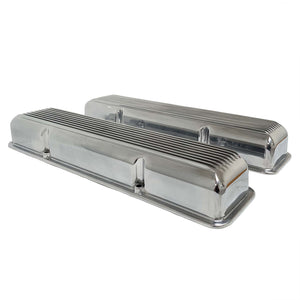 ansen small block chevy corvette all fins valve covers, polished, side profile view